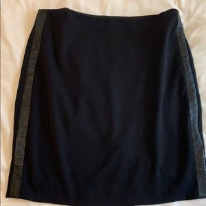 Black pencil skirt with side leather strips